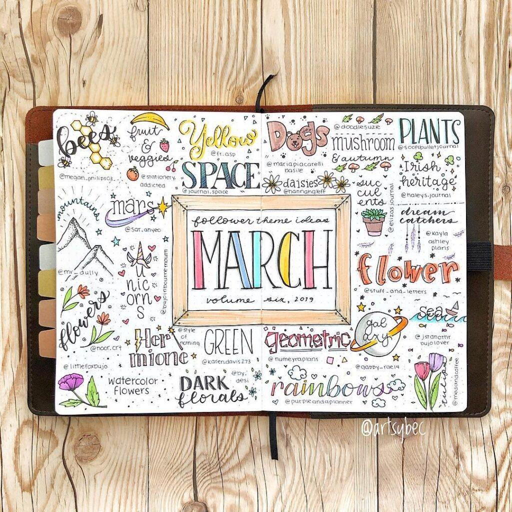 Creative Theme March Bullet Journal Idea