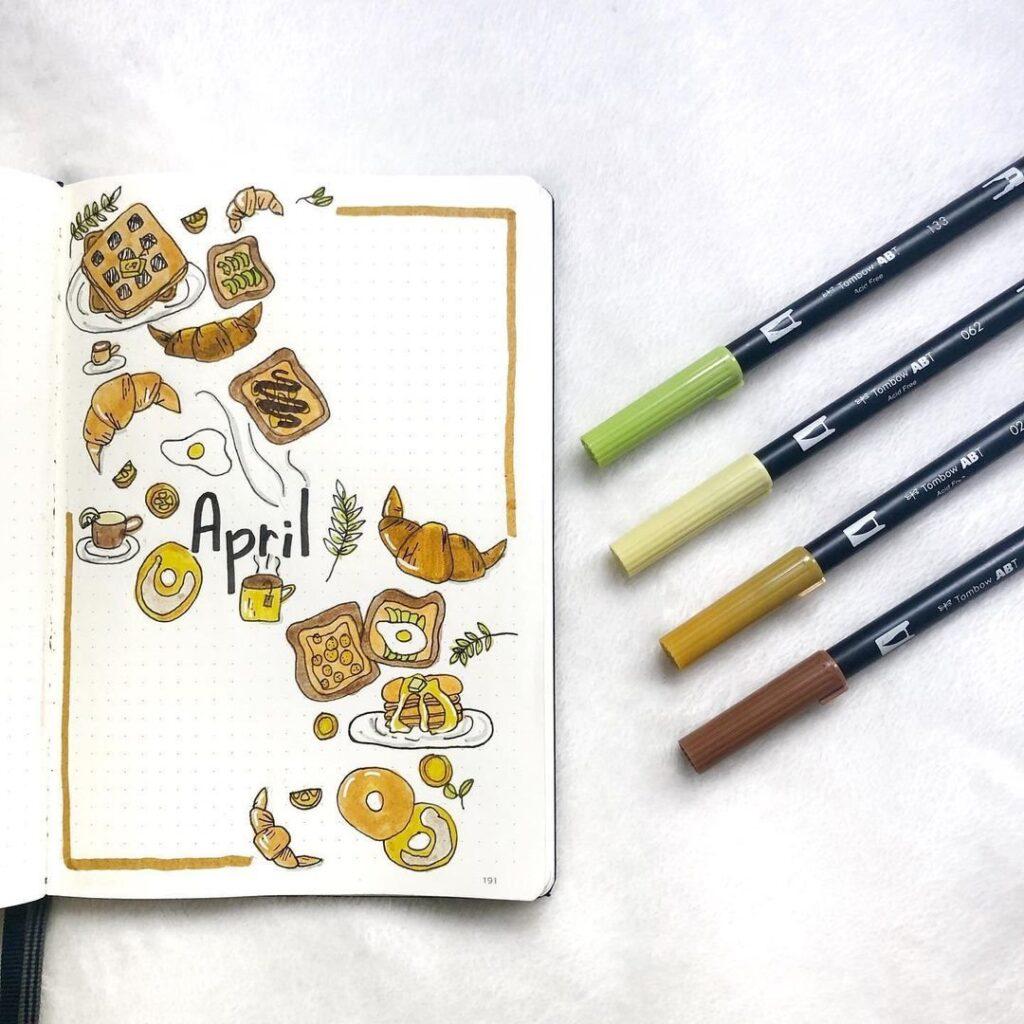 Cute Breakfast April Bullet Journal Cover Idea