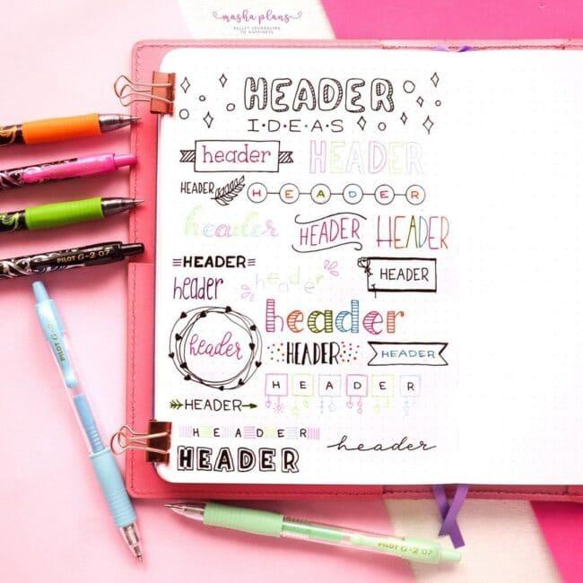 Cute Bullet Journal Header Ideas