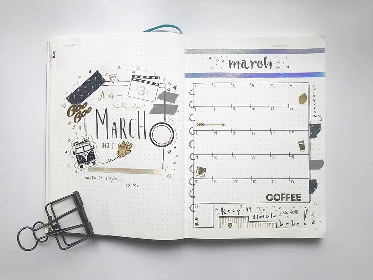 Cute Bullet Journal Spread for March