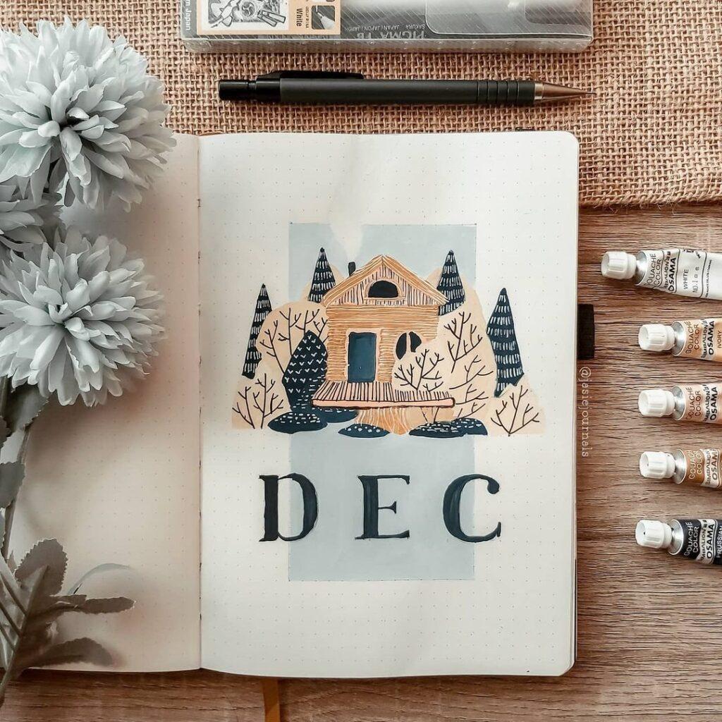 Cute Cabin Bullet Journal Idea