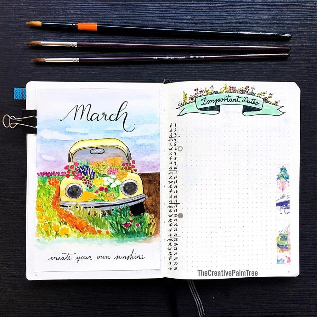 Cute Car and Flowers March Bullet Journal Idea