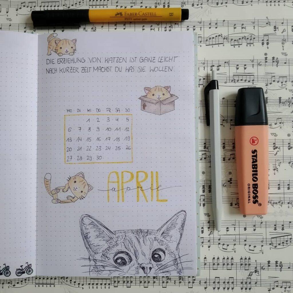 Cute Cat April Bullet Journal Cover