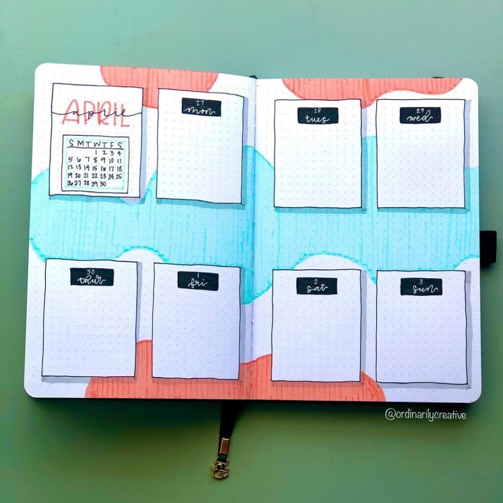 Cute Color April Bullet Journal Idea