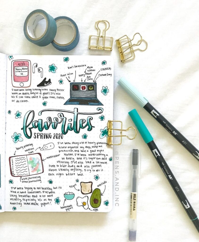 Cute Favorites Bullet Journal Page