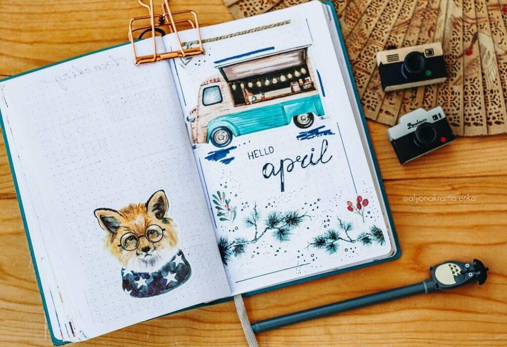 Cute Food Truck April Bullet Journal Cover Idea