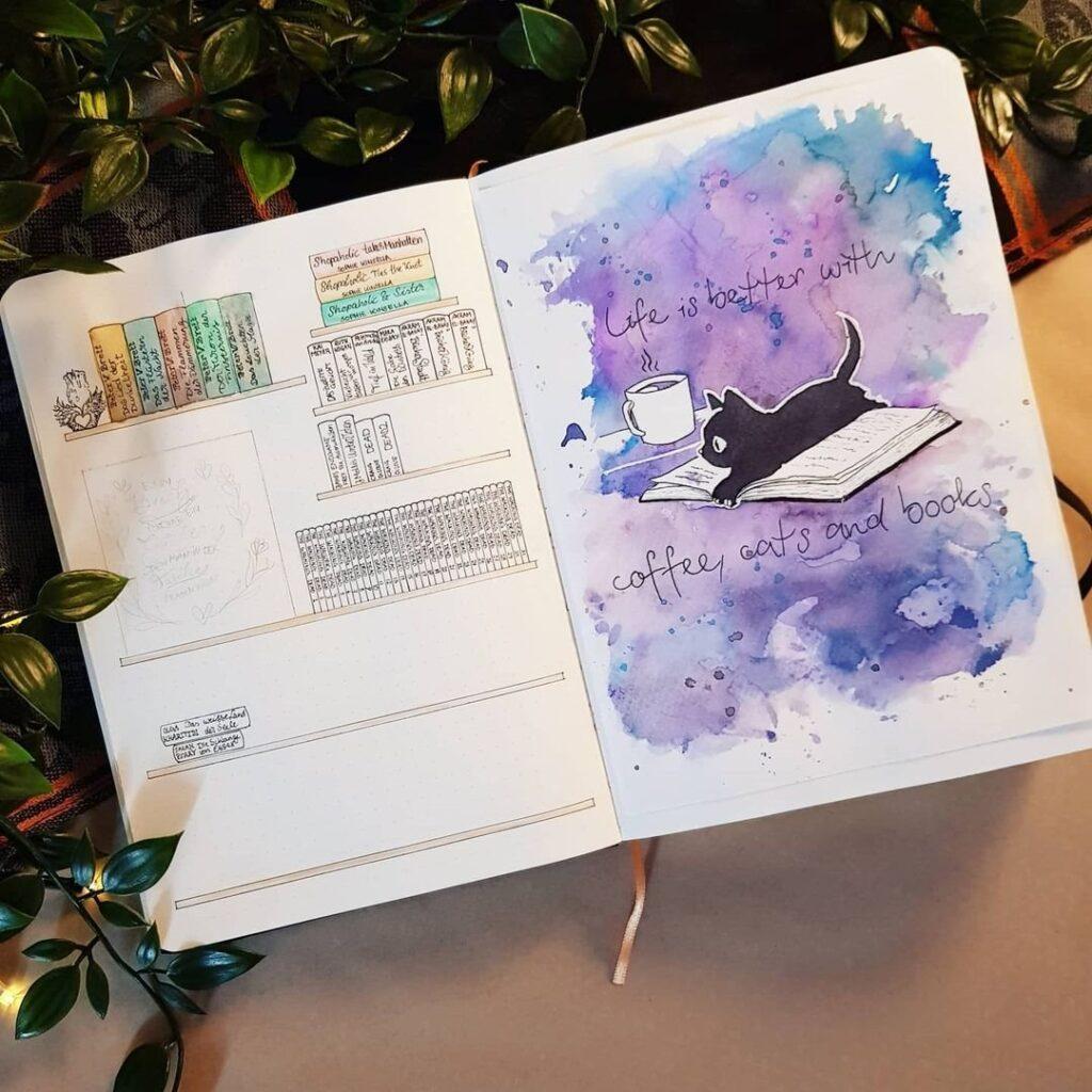 Cute Kitten Bullet Journal Spread Idea
