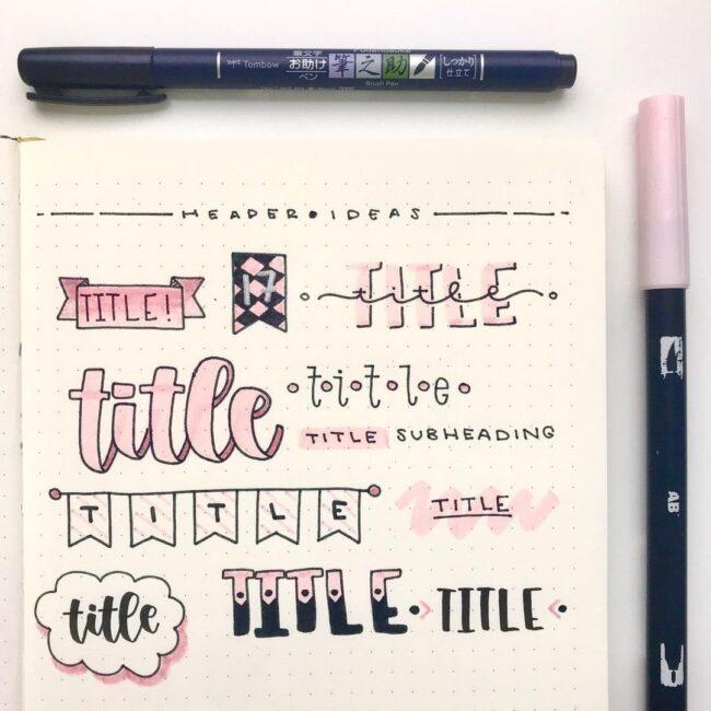 Cute Pink and Black Bullet Journal Header Ideas