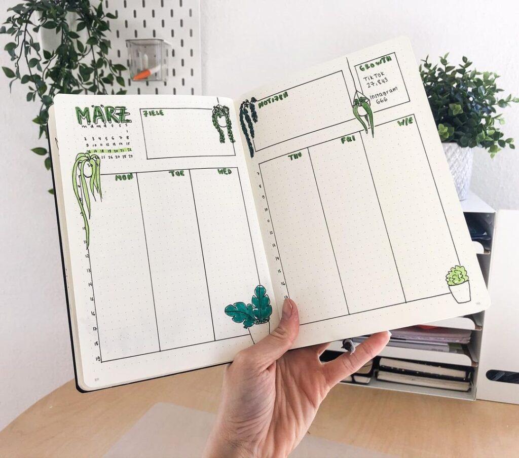 Cute Plants March Bullet Journal Spread