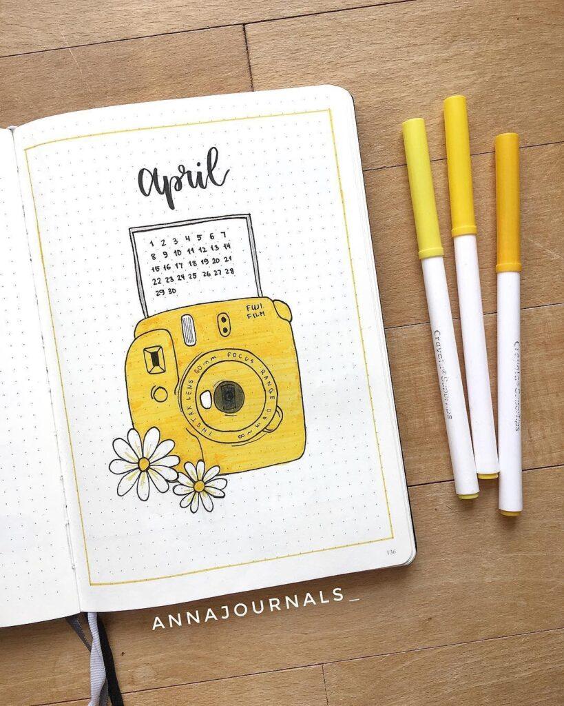 Cute Polaroid April Bullet Journal Cover