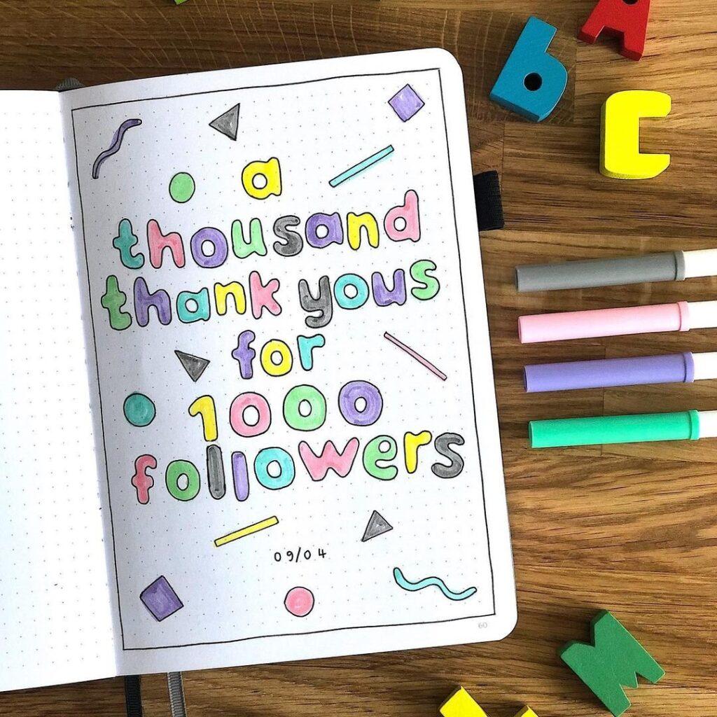 Cute Thank You Instagram Followers Bullet Journal Idea