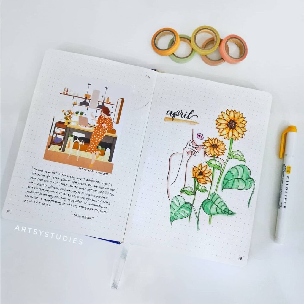 Dainty Sunflower April Bullet Journal Cover Idea
