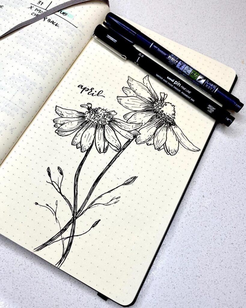 Daisy Illustration April Bullet Journal Cover Idea