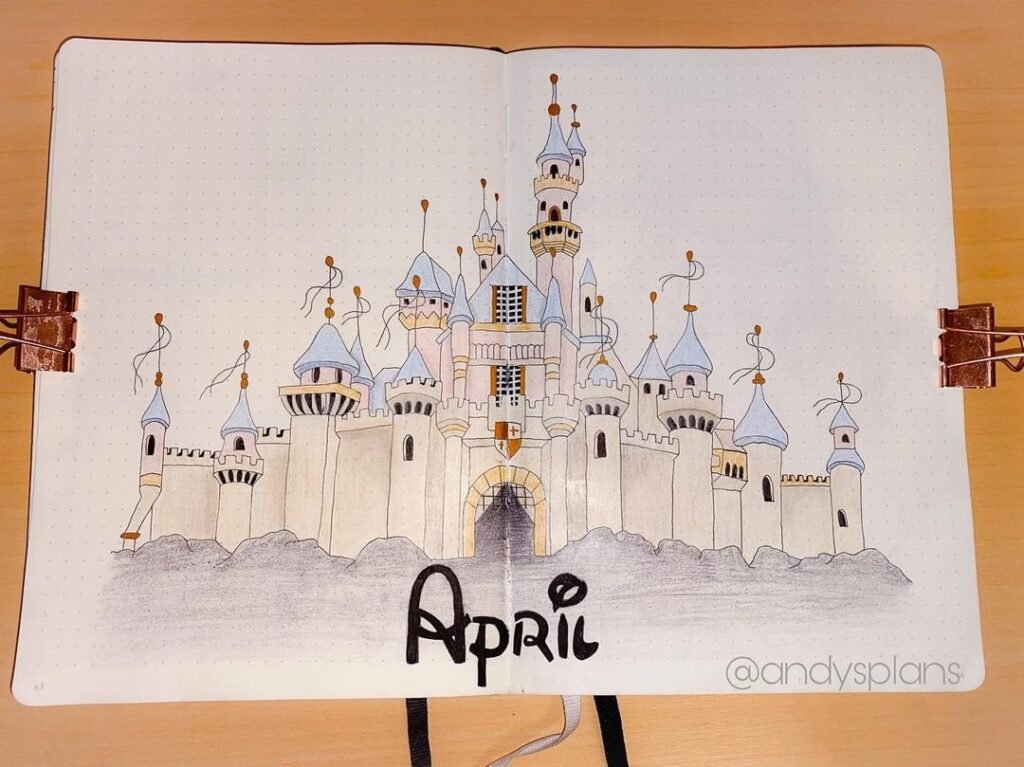 Disney Castle April Bullet Journal Cover Spread