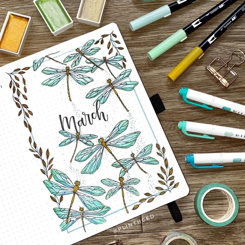 March covers with doodles