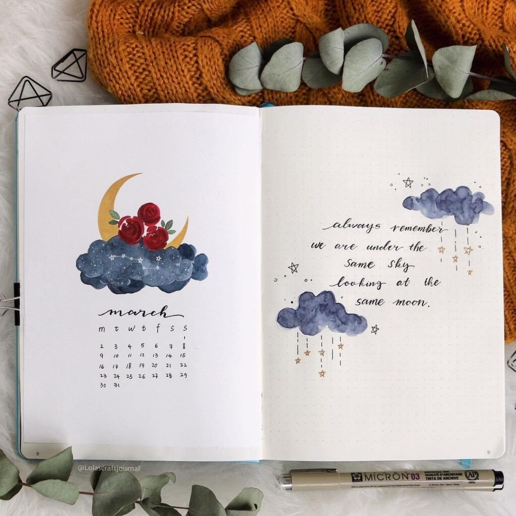 Dreamy Moon and Rose march Bullet Journal Spread