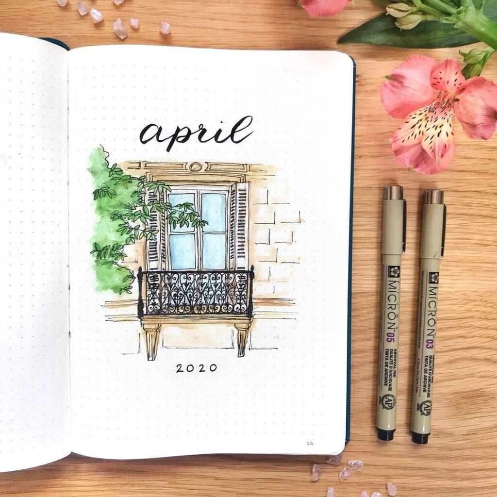 European Architecture April Bullet Journal Cover
