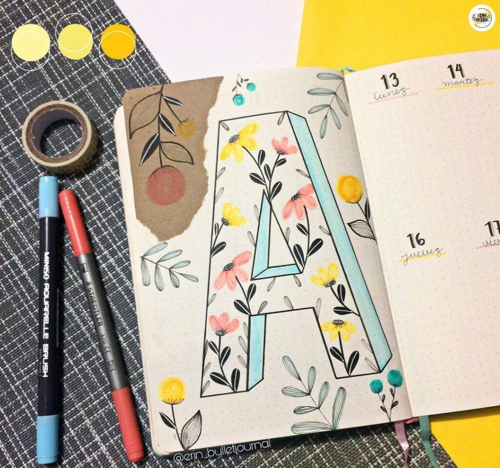 Floral 3D Lettering April Bullet Journal Cover Idea