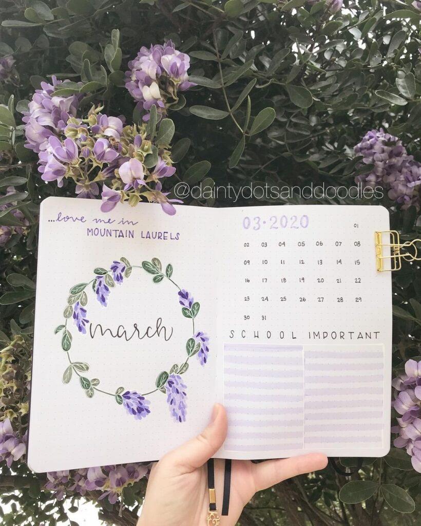 Floral March BuJo Spread