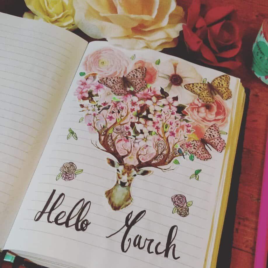 Floral Deer March Bullet Journal Cover