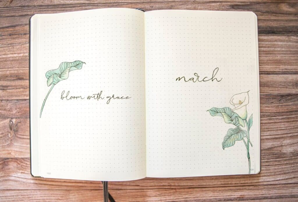 Floral March Bullet Journal Spread