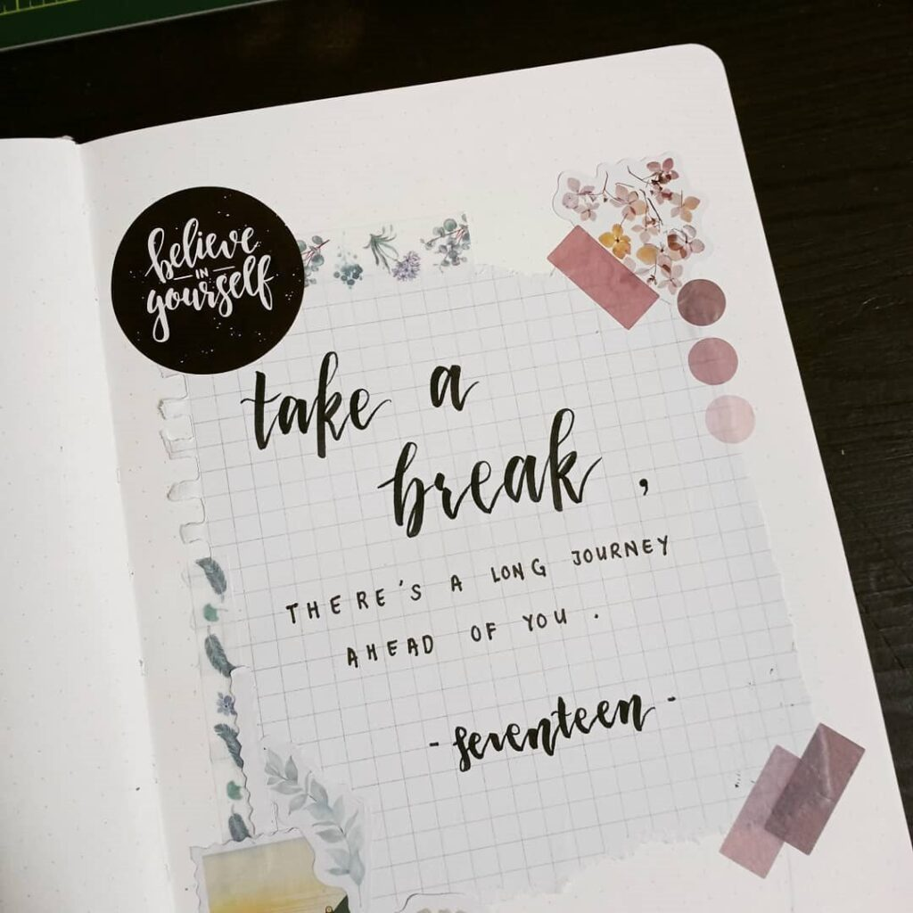 Floral Quote Bullet Journal Page
