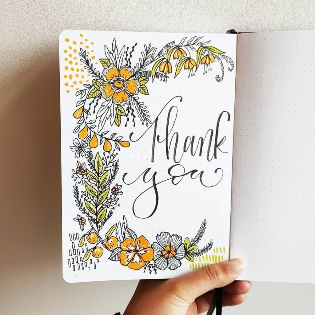 Floral Thank You Bullet Journal Page Idea