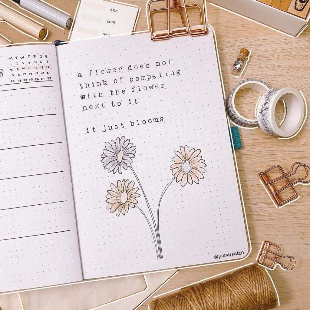 Flower Quote Bullet Journal Idea