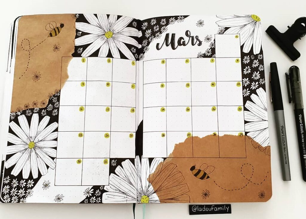 Flower and Bee Calendar March Bullet Journal Spread