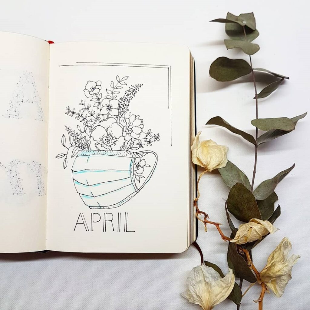 Flowers and Face Masks April Bullet Journal Cover