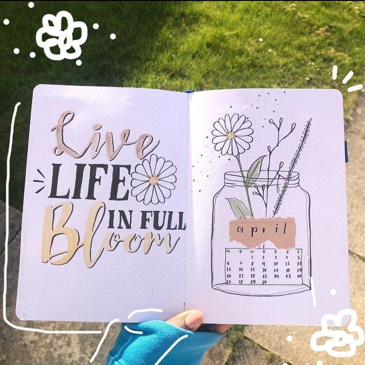Flowers in a Jar April Bullet Journal Cover Idea