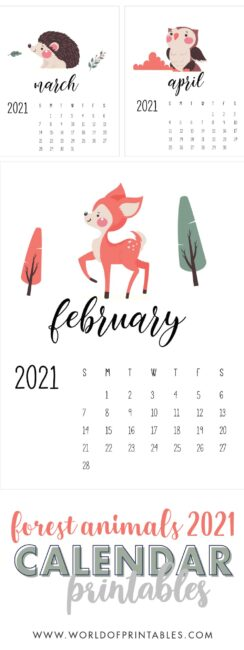 Forest Woodland Animals printable calendar 2021