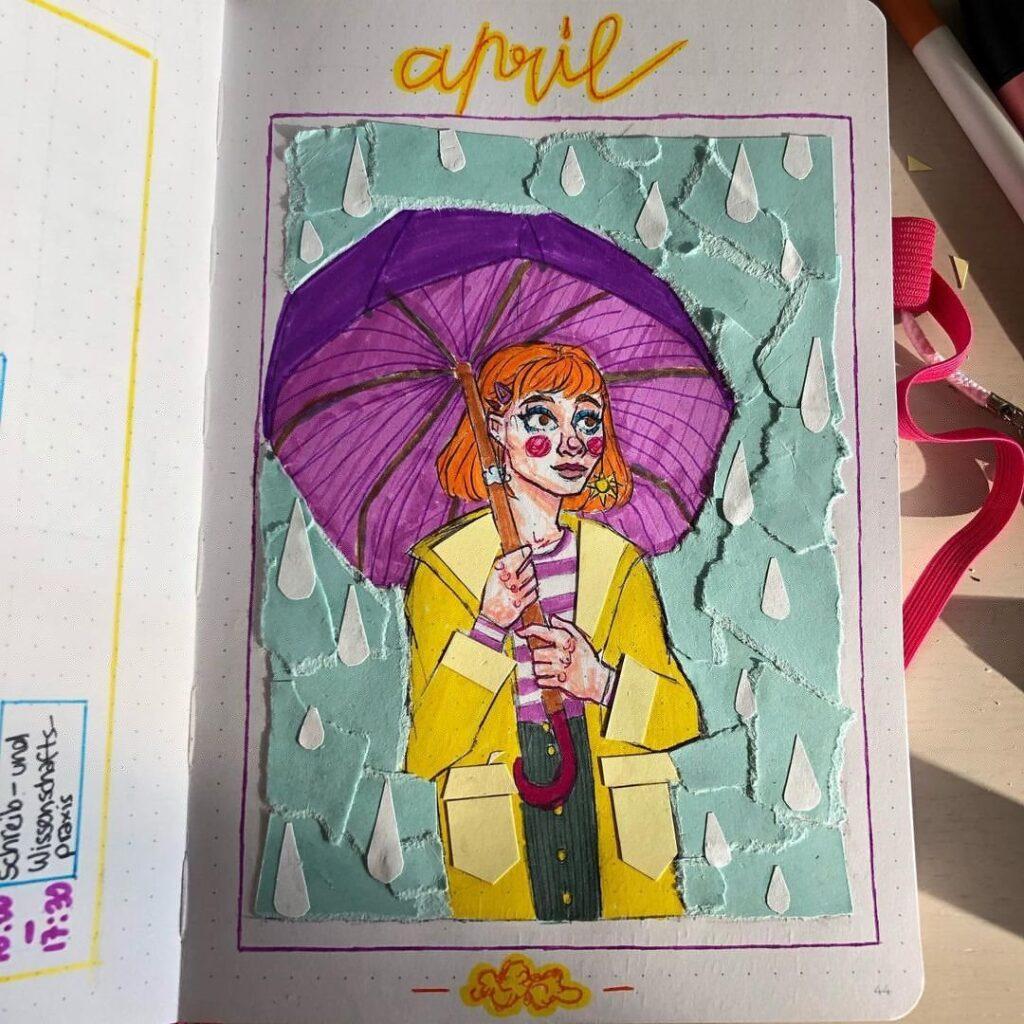 Girl In The Rain April Bullet Journal Cover Idea