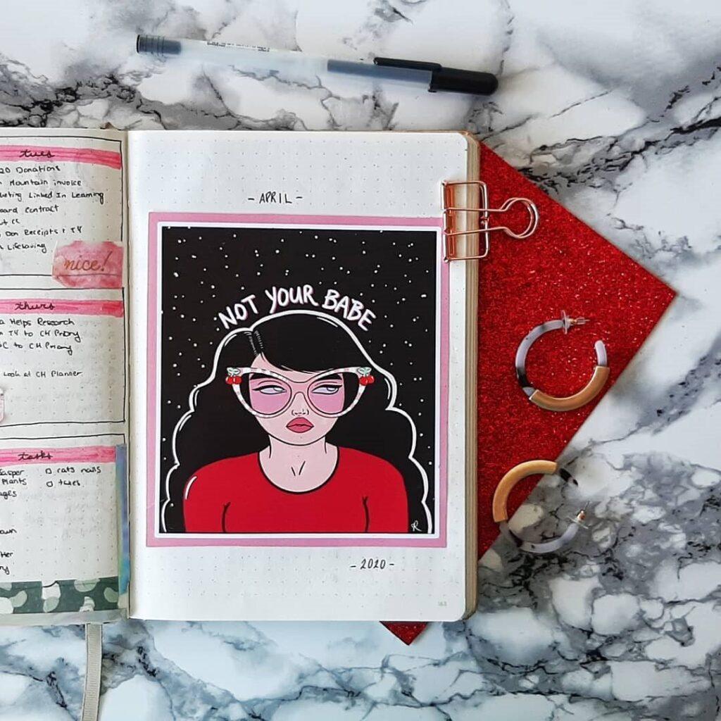 Girl illustration April Bullet Journal Cover