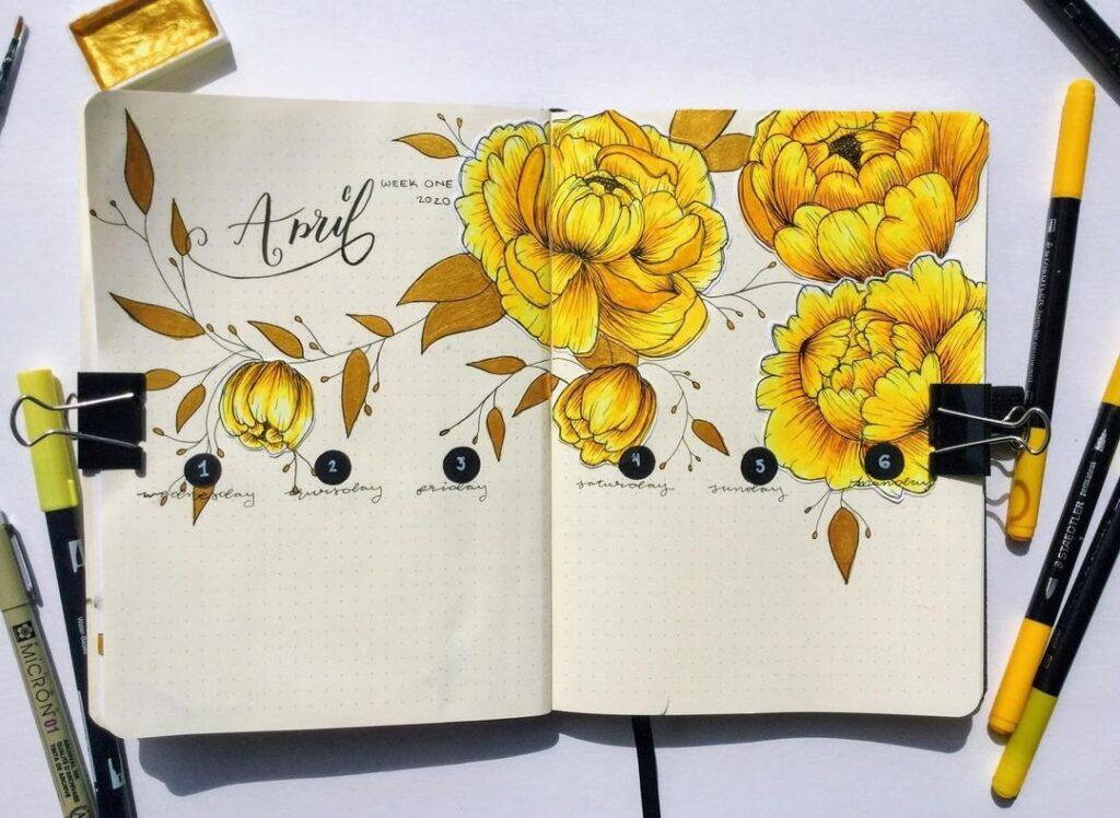 Golden Floral April Bullet Journal Spread Idea