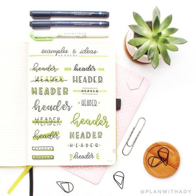 Green Bullet Journal Header Ideas