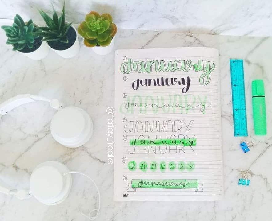 Green January Bullet Journal Header Ideas