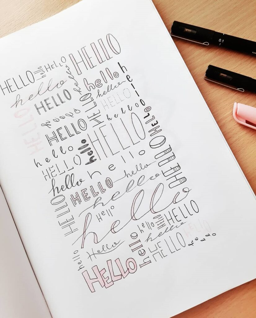 Hello Bullet Journal Header Idea