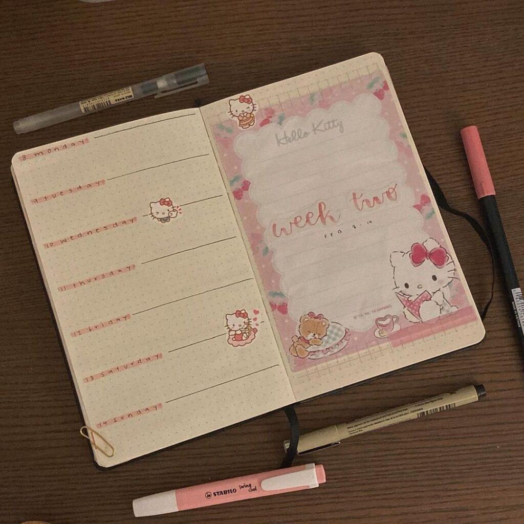Hello Kitty Bullet Journal Idea