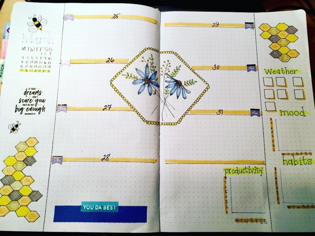 Hexagon March Bullet Journal Spread