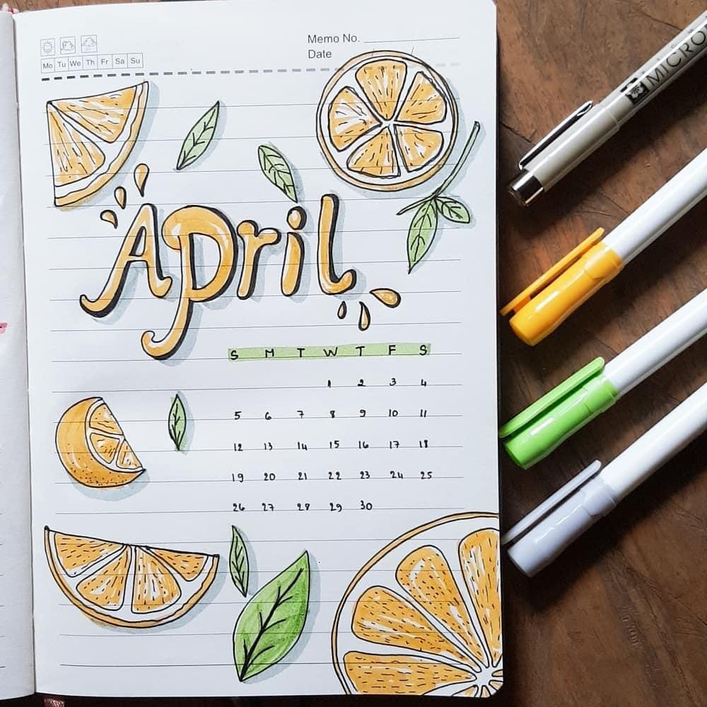 Juicy Lemons April Bullet Journal Cover