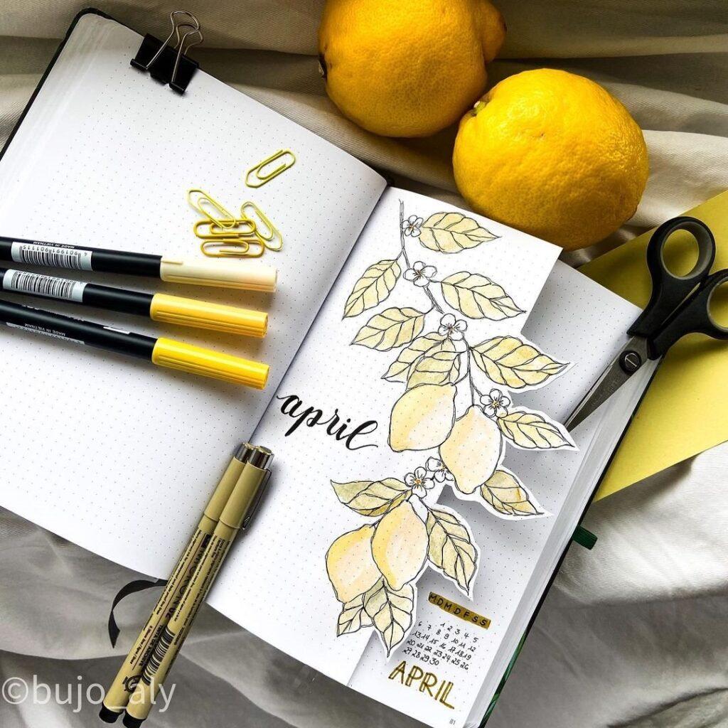 Lemon April Bullet Journal Cover
