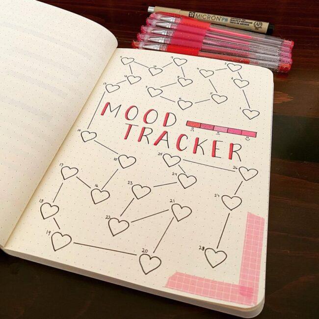 Love Heart Mood Tracker Bullet Journal Idea