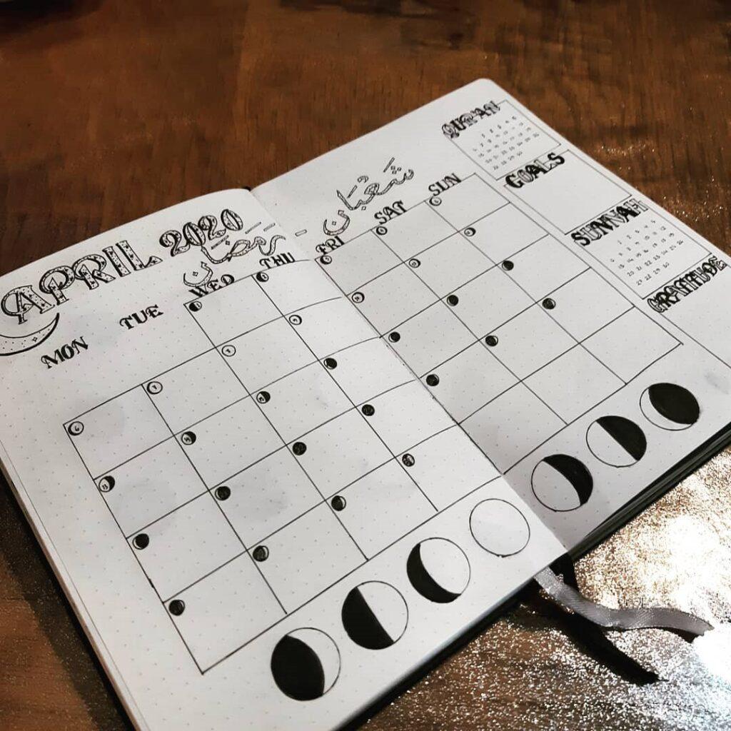 Lunar Cycle April Bullet Journal Idea