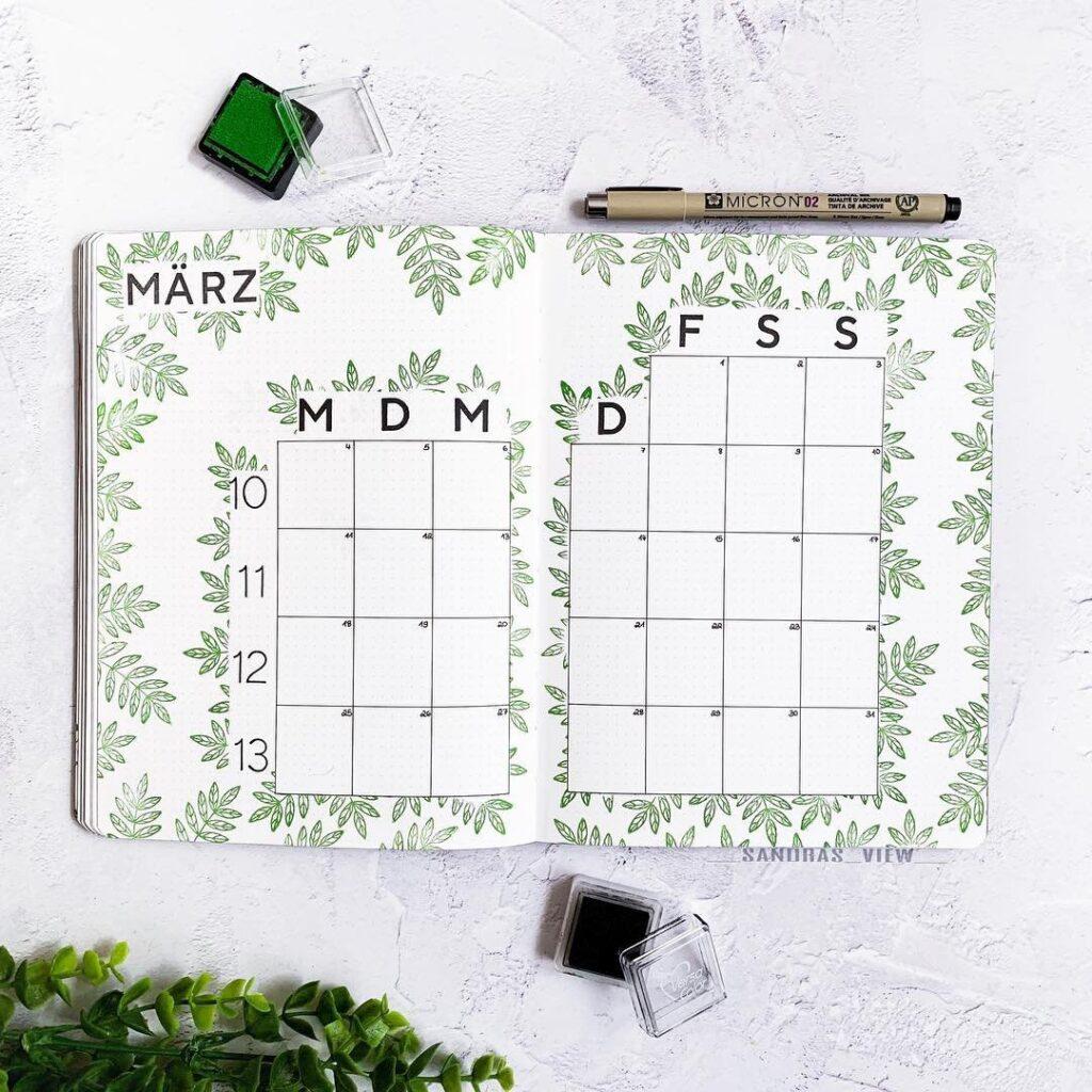 March Botanical Calendar Bullet Journal Spread