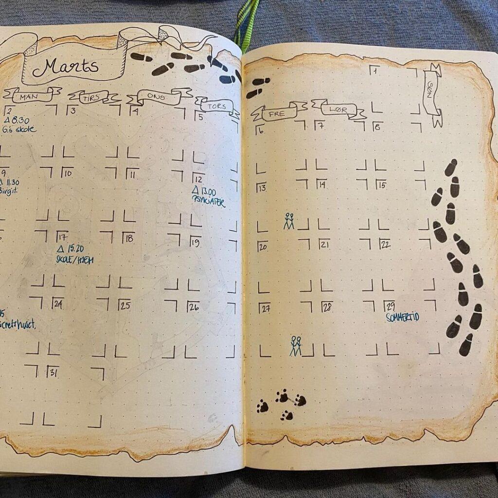 Marauder's Map March Bullet Journal Idea