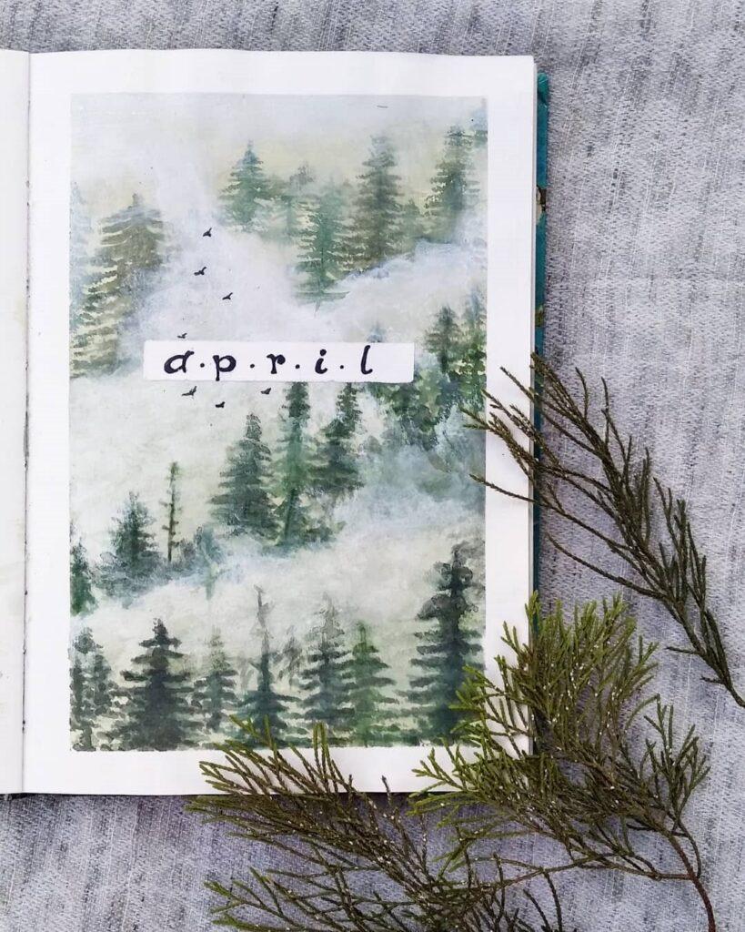 Misty Forest April Bullet Journal Cover