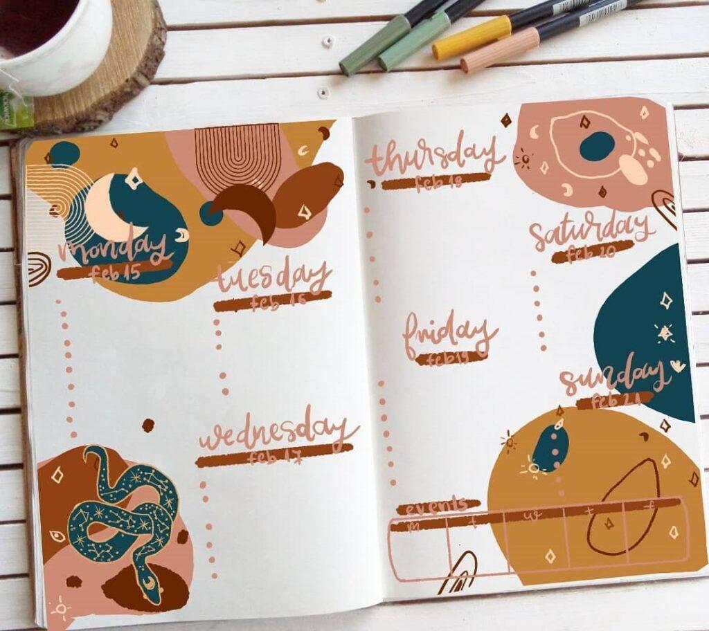 Modern Boho Bullet Journal Theme Idea