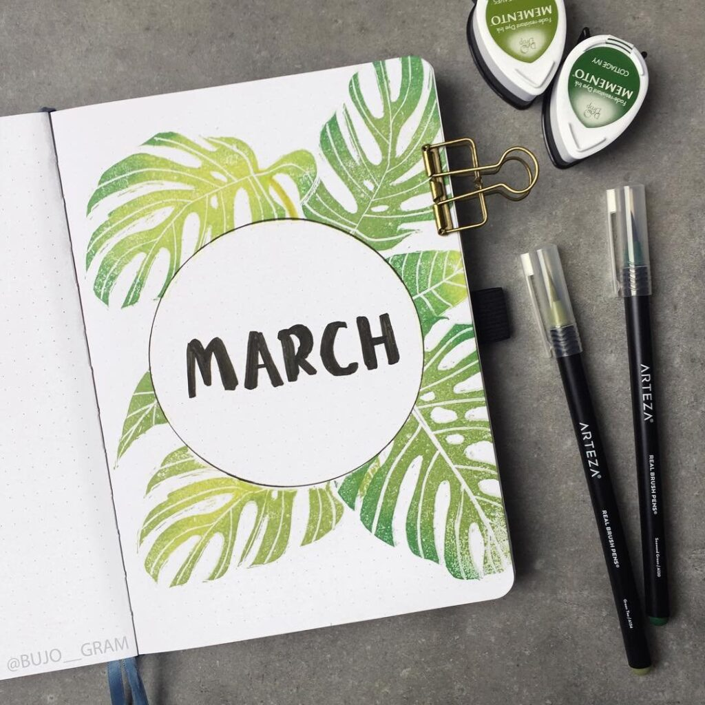 cover page ideas for march bullet journal