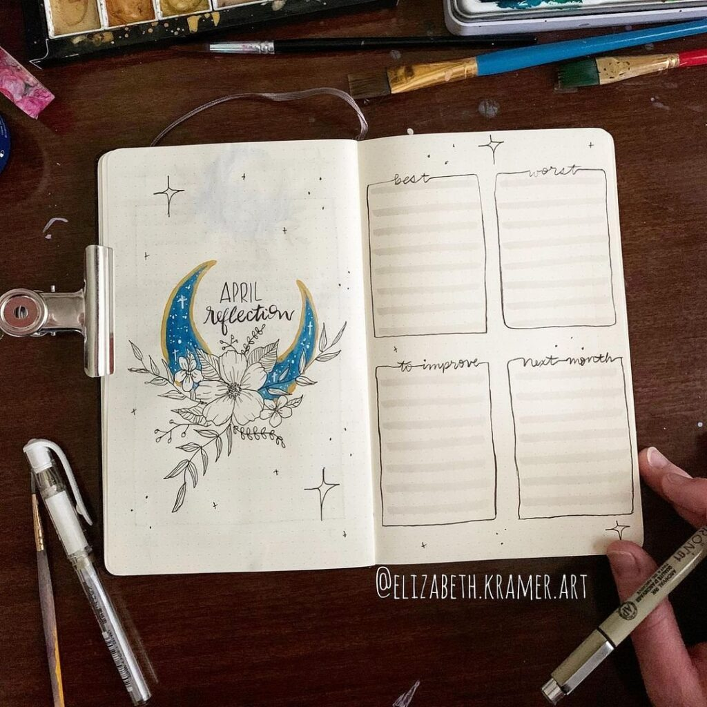 Moon and Flowers April Bullet Journal Spread Idea